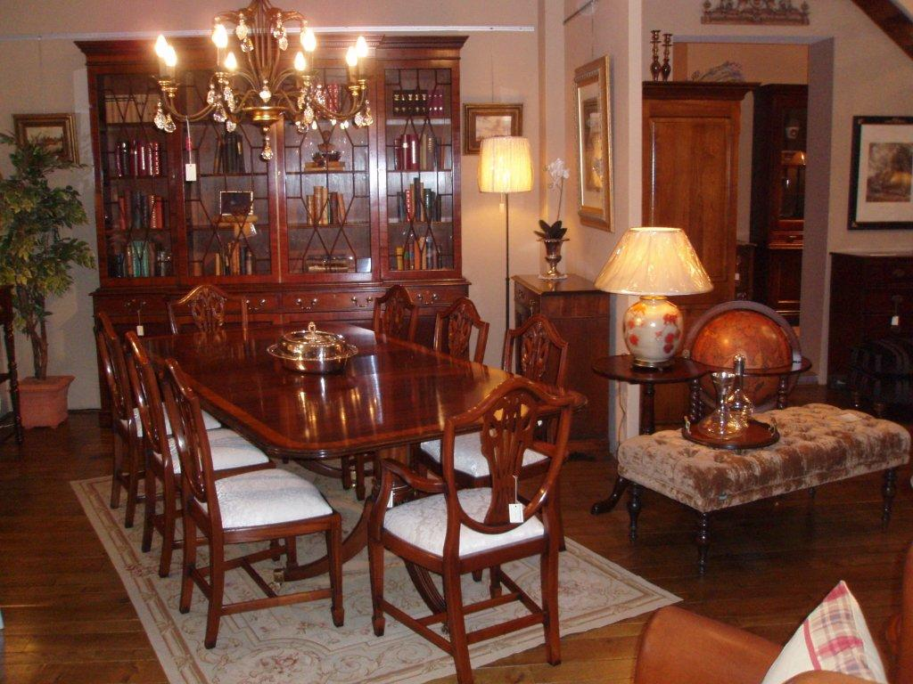 Chesterfield Chairs English Sofa Bookcase Dining Room Mahogany Ac